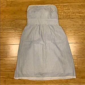 Seersucker strapless dress
